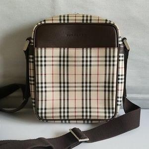 Burberry Nova Check Plaid Leather Crossbody Bag
